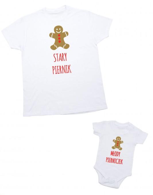 Zestaw koszulek świątecznych dla taty i dziecka PIERNIK