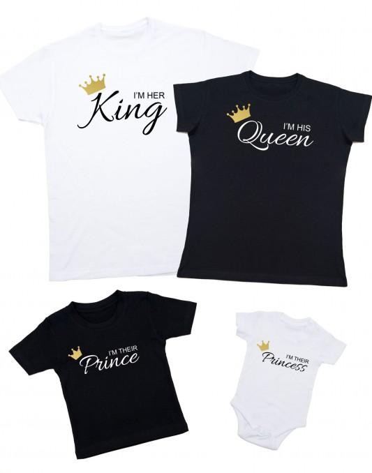 Zestaw dla rodziny I'M HIS KING I'M THEIR PRINCESS złota korona