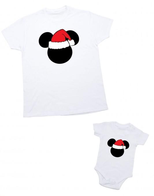 Zestaw koszulek świątecznych dla taty i dziecka MIKI 2